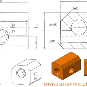 CATIA V5 Video tutorial #6 – Sketch, Pad, Hole and Chamfer