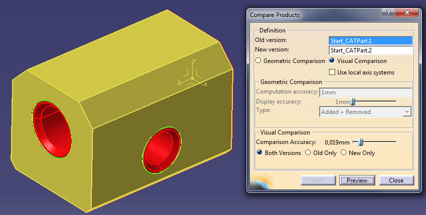 How to compare two parts in CATIA V5